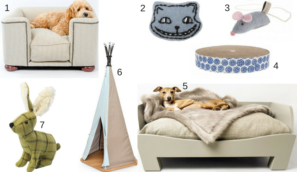 Luxury dog bed, luxury cat toy, stylish scratching pose