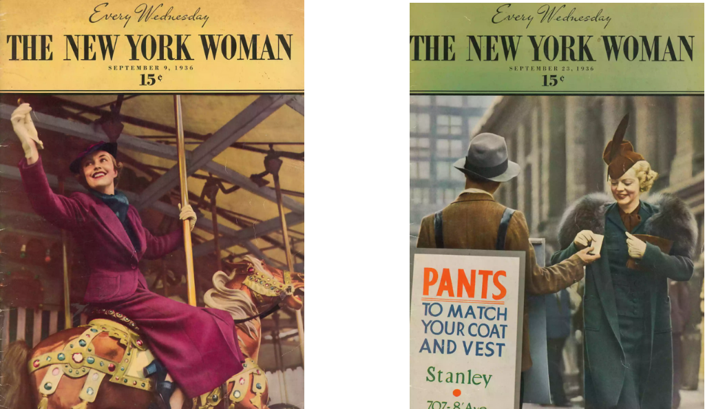 Lef:t Cover of the New York Woman, 23 September 1936. Private collection, Right: Cover of The New York Woman, September 9, 1936. Private collection