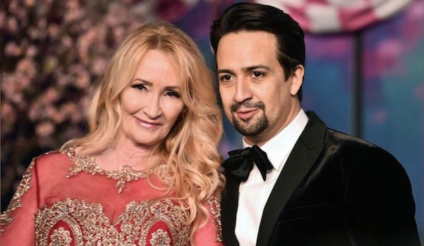 Karen Dotrice and Lin-Manuel Miranda at the premiere of Mary Poppins Returns