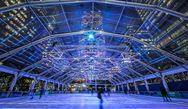 Winter activities for families: ice skating at Canary Wharf