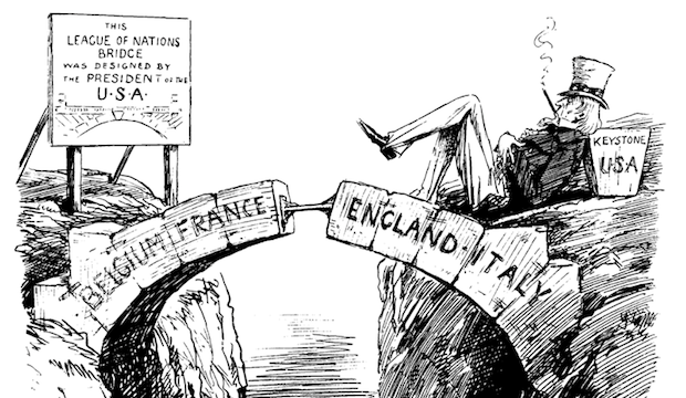 This political cartoon illustrates the idea that the League couldn't support itself without the United States. Created by Leonard Ravenhill December 10, 1919