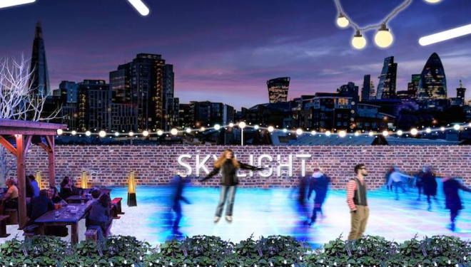Winter events for families: ice skating at Skylight, Tobacco Dock