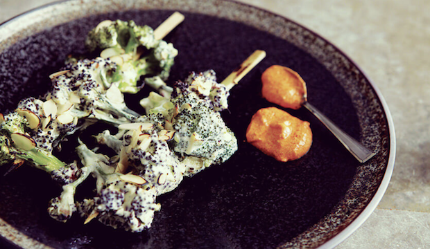 House of Holi, Cinnamon Kitchen: Char Grilled Broccoli Florets with Rose Petal Almonds