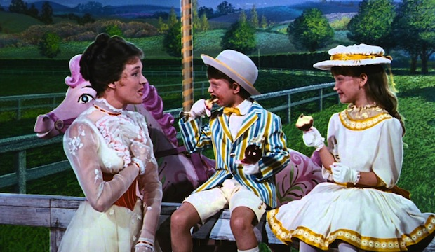 Julie Andrews, Matthew Garber and Karen Dotrice on the set of Mary Poppins